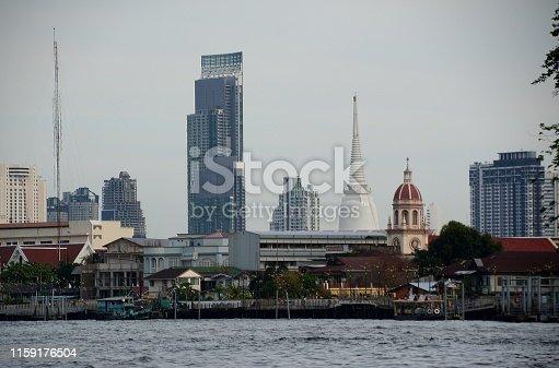 The Chao Praya River and Bangkok Thonburi skyline, Thailand.
