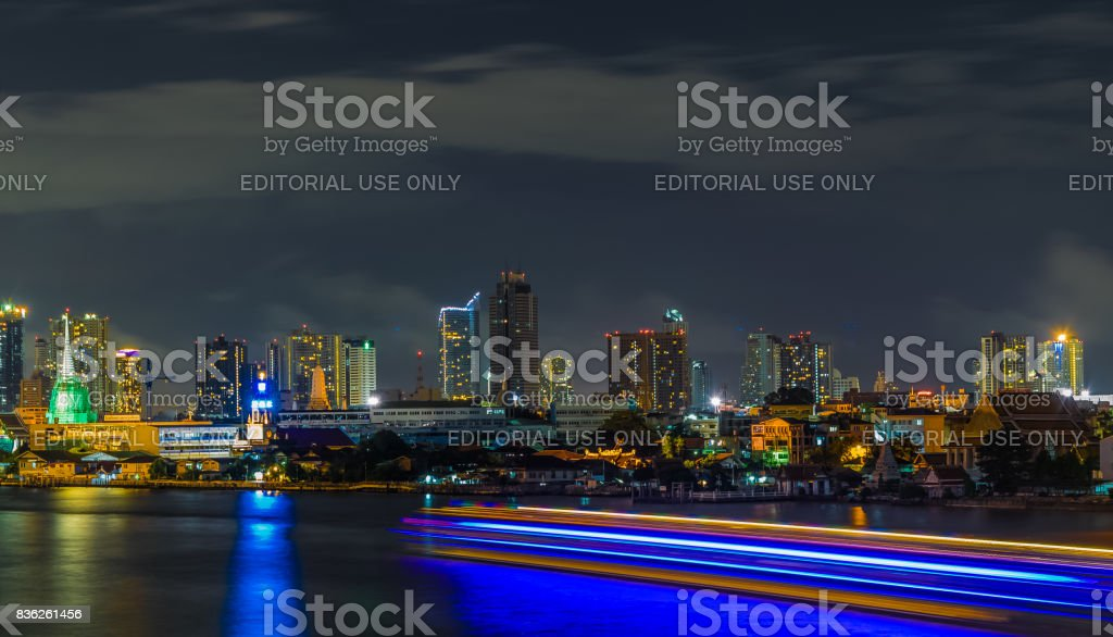 Chao Phraya river atmosphere at night Light from the cruise ship stock photo