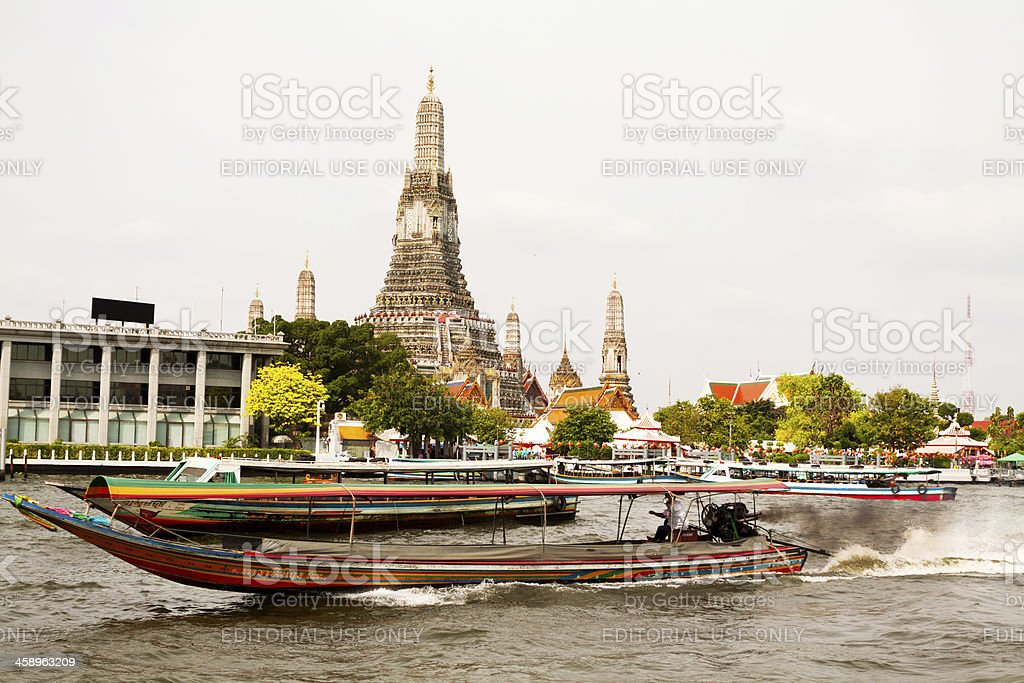 Chao Praya and Wat Arun royalty-free stock photo