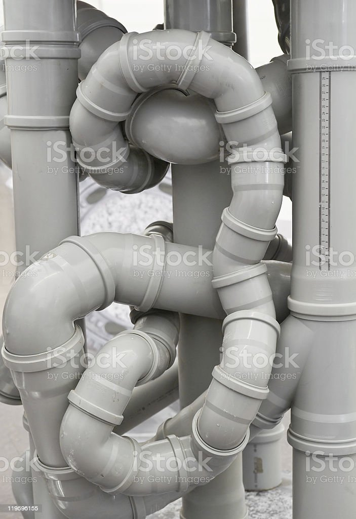 Chaos of drain pipes royalty-free stock photo