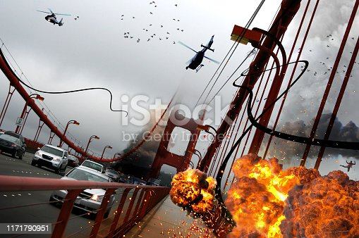 Explosion on the Golden Gate bridge. A science fiction movie scene design.  I took this photo on a trip to San Francisco, USA in June 2010. Scene from SF Downtown to Sausalito.   My other fantastic istock photo from Golden Gate: 1135183292