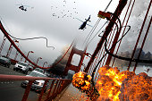 Explosion on the Golden Gate bridge. A science fiction movie scene design.\n\nI took this photo on a trip to San Francisco, USA in June 2010. Scene from SF Downtown to Sausalito. \n\nMy other fantastic istock photo from Golden Gate: 1135183292