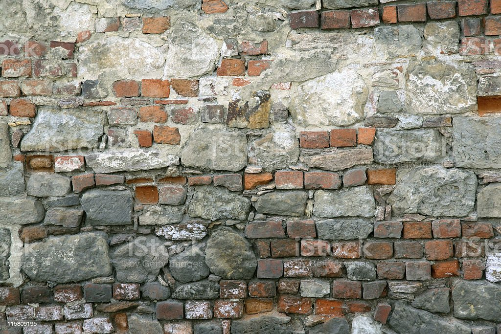 chaotic brick wall royalty-free stock photo
