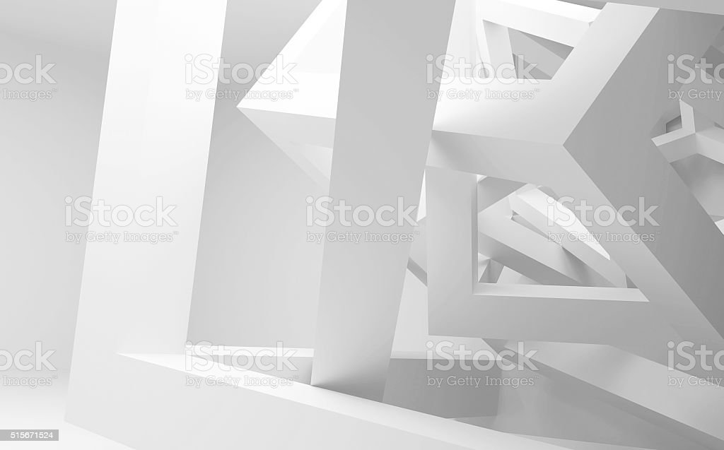 Chaotic construction of cubes. 3d illustration stock photo