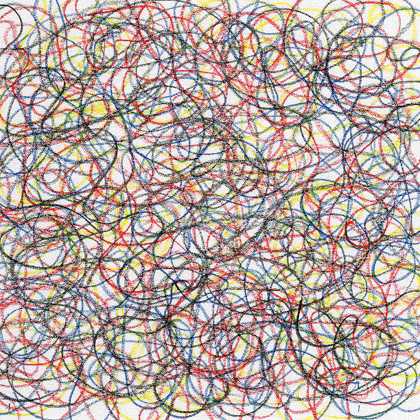 chaotic crayon scribble stock photo
