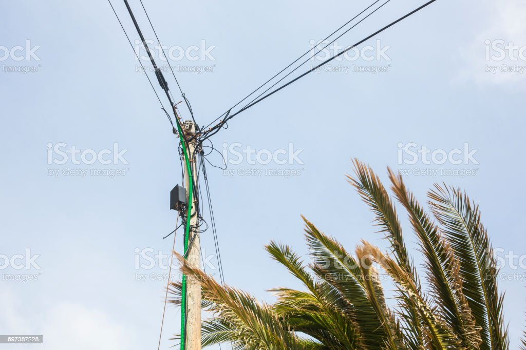 chaotic electric installation in south europe stock photo