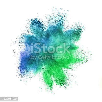 874001974 istock photo Chaotic explosion in blue-green colors on a white background. 1222061024