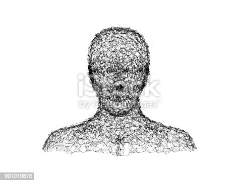 istock Chaotic lines shape a human face on white background in technology concept, artificial intelligence. 3d illustration 991019876