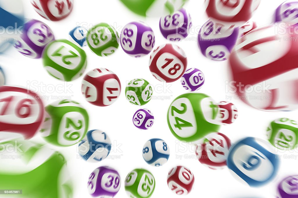 Chaotic mess of lottery number balls stock photo