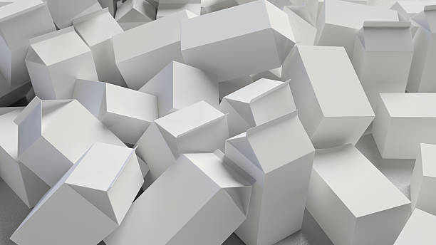 Chaotic Pile of Blank Cardboard Cartons - Photo