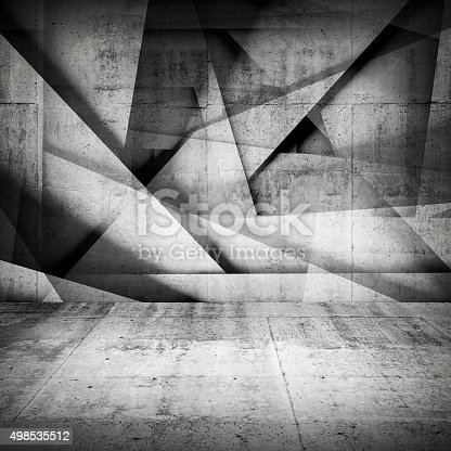 istock Chaotic polygonal relief pattern on concrete wall 498535512
