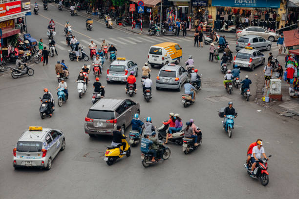 Chaotic road traffic in Hanoi, Vietnam stock photo
