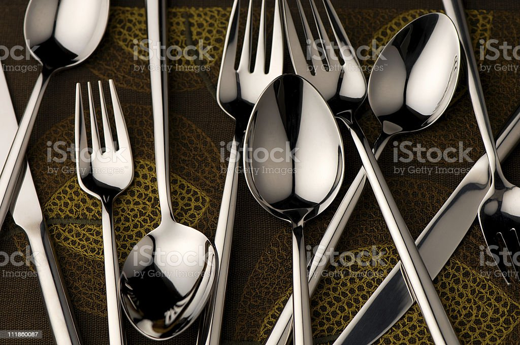 Chaotic Silverware royalty-free stock photo