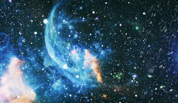 Kaotik uzay arka planı. Düşler Galaksisi. Bu görüntünün unsurları NASA tarafından döşenmiştir. stok fotoğrafı