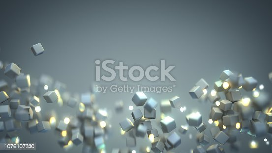 511983606 istock photo Chaotic stream of flying cubes 3D render 1076107330