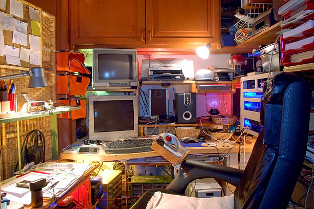 Chaotic Technological Private Working Place  messy home office stock pictures, royalty-free photos & images