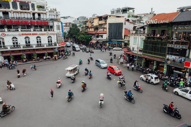 Chaotic traffic at the Hanoi Old Quarter, Vietnam stock photo