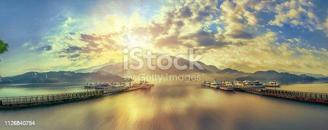 Dramatic sunlight at Chaowu Wharf, Sun Moon Lake, Taiwan