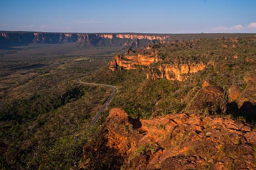Sandstone rock formations in Chapada dos Guimarães National Park, Mato Grosso, Brazil.