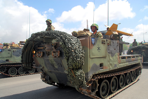 MIM-72 Chaparral anti-aircraft missile system and crew - downtown Setubal, Portugal