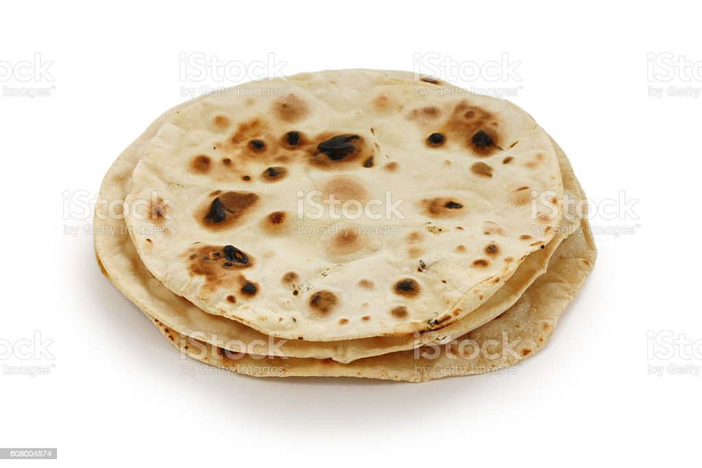 chapati , indian unleavened flatbread stock photo