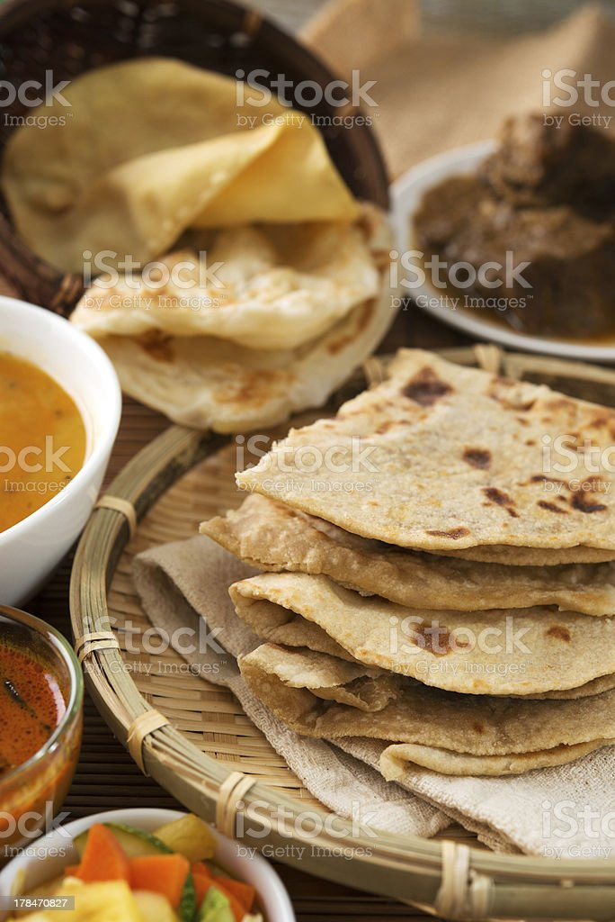 Chapati or Flat bread royalty-free stock photo