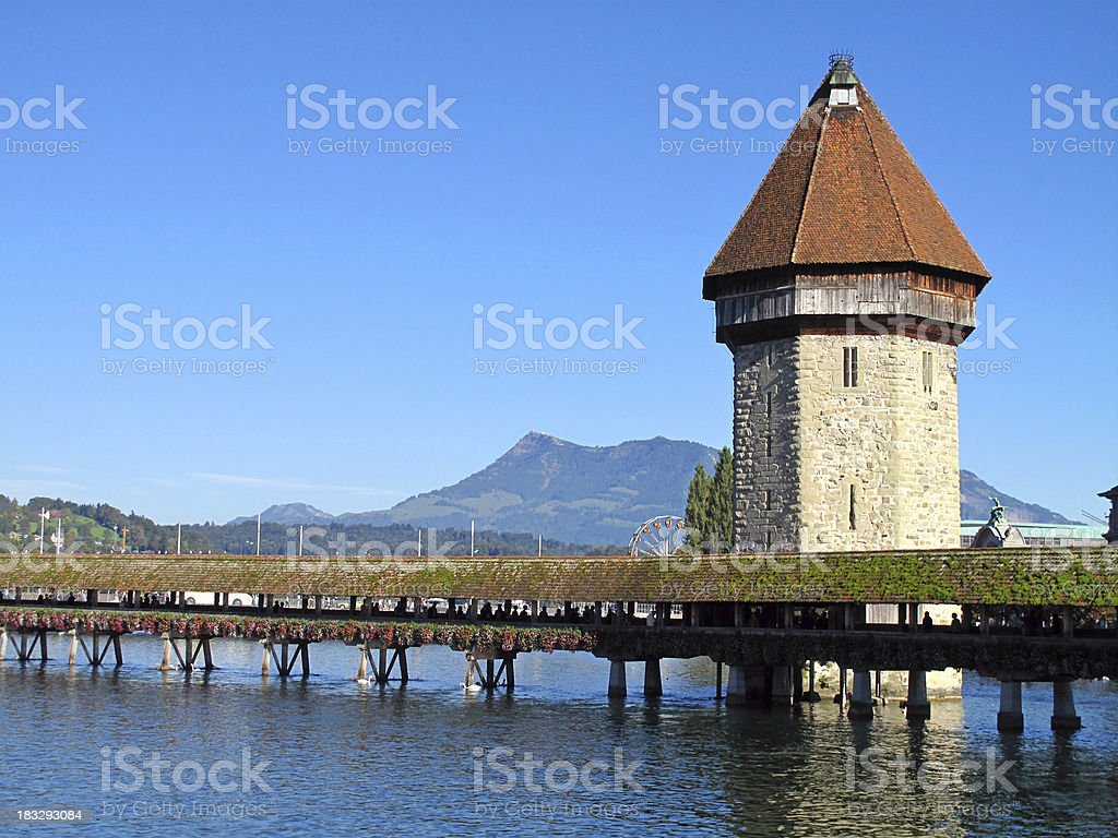 Chapel Bridge and Water Tower in Lucerne stock photo