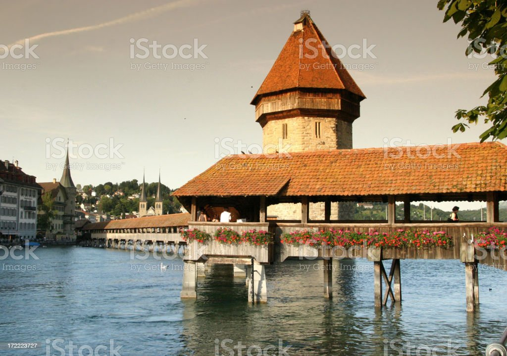 Chapel Bridge And Water Tower Over River Reuss royalty-free stock photo