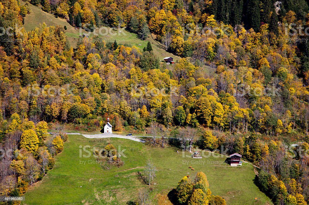 Chapel by Road to Panix in Fall stock photo