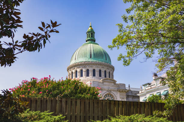 Chapel dome on the US Naval Academy campus in Annapolis, Maryland stock photo
