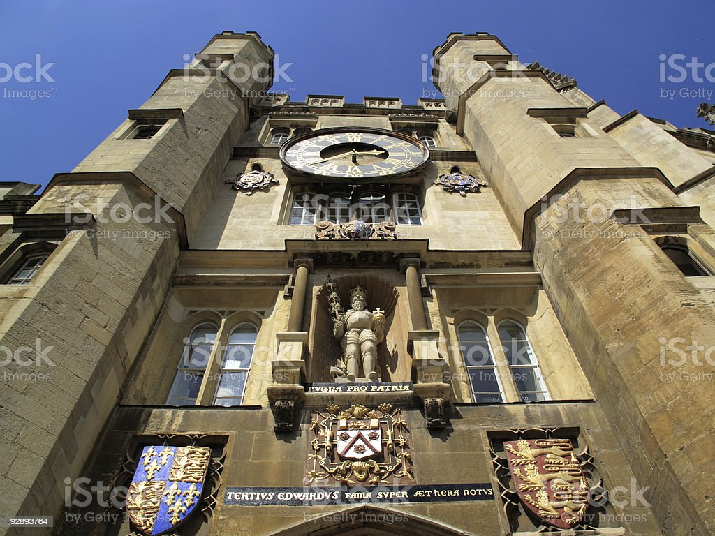 Chapel Entrance Trinity College Cambridge University stock photo