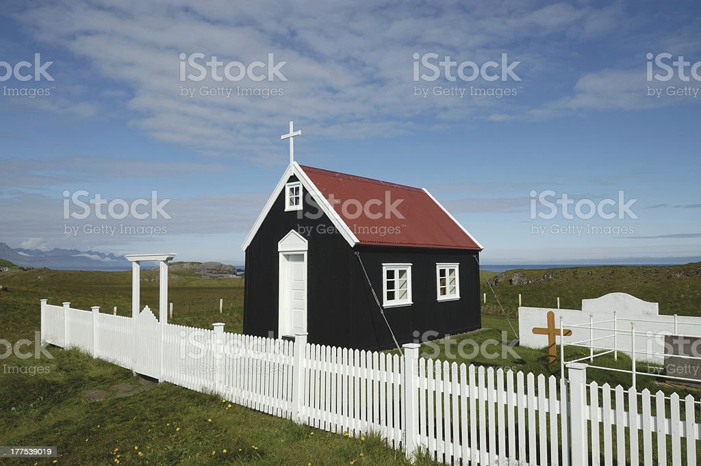 Chapel from black wood, Iceland royalty-free stock photo