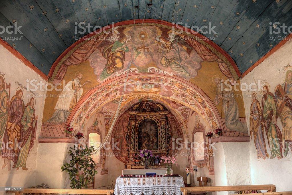 Chapel Holy Three Kings in Obersaxen Platenga (XXL) stock photo
