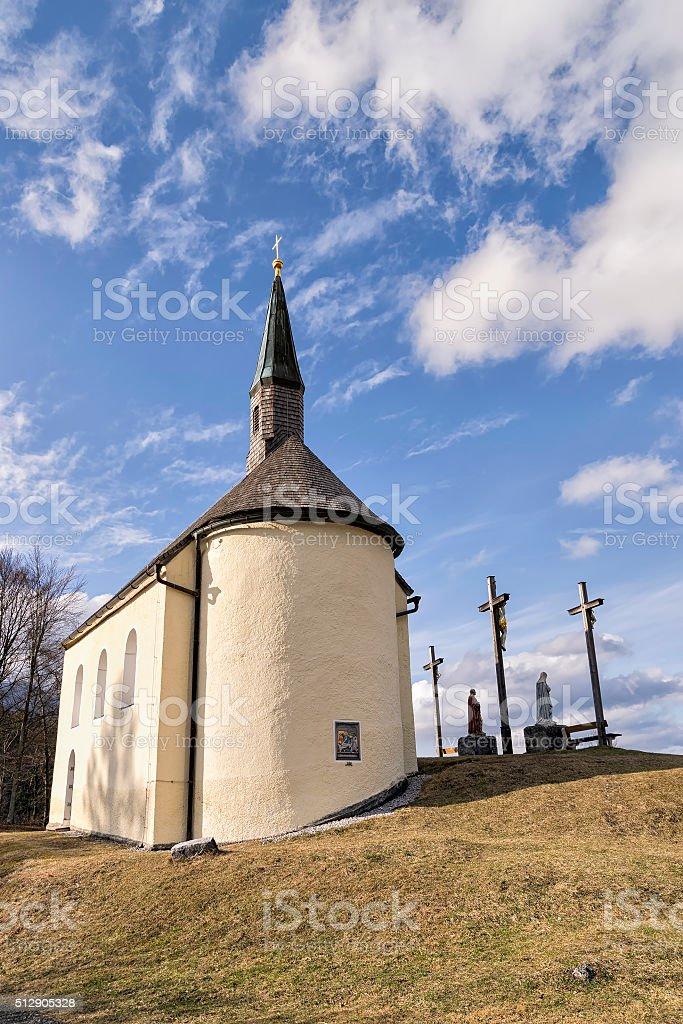 Chapel in Bavarian Alps stock photo