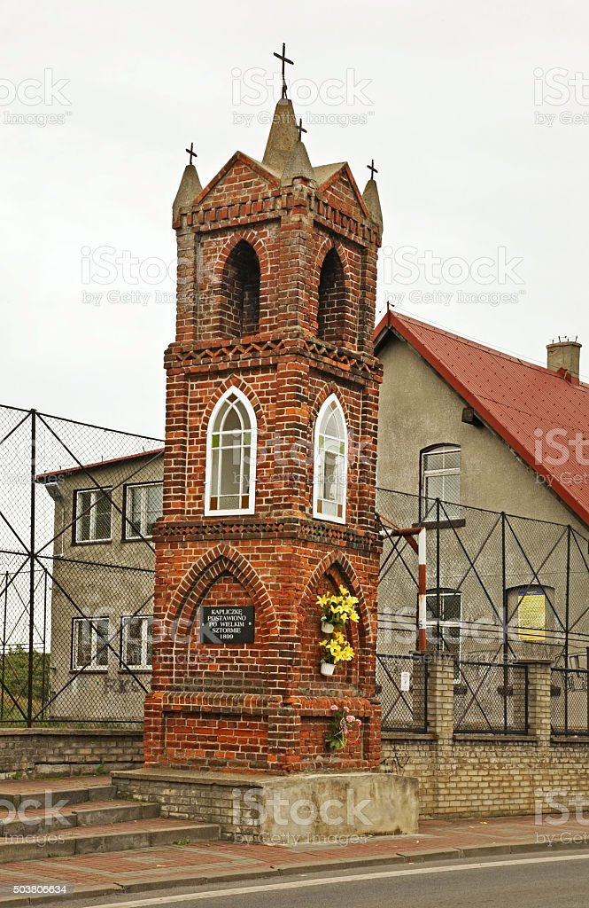 Chapel in memory of storm 1899 in Kuznica. Poland stock photo