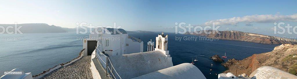 Chapel in Oia village of Santorini island of Greece stock photo