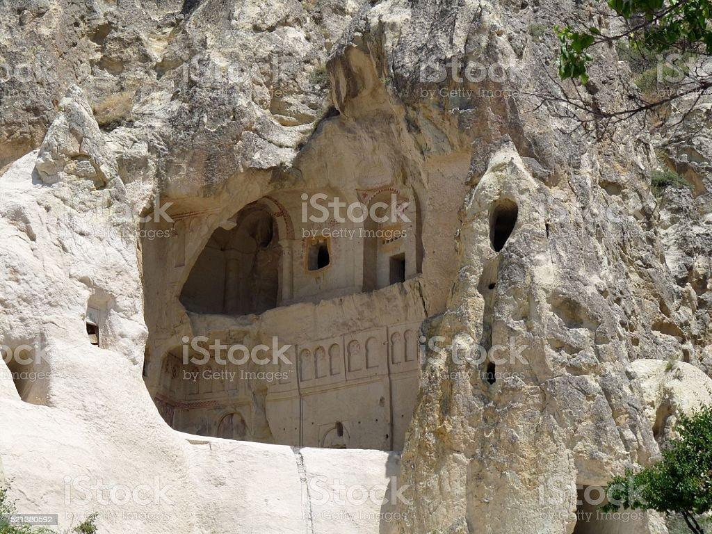 Chapel in rock, Goreme, Cappadocia, Turkey stock photo