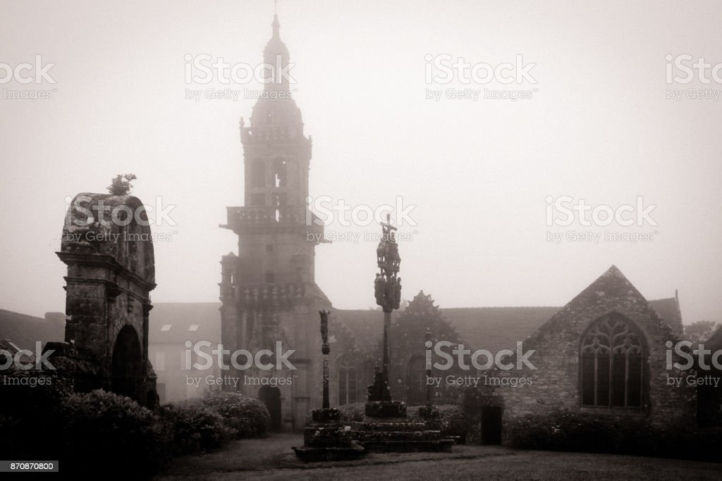 chapel in the fog stock photo
