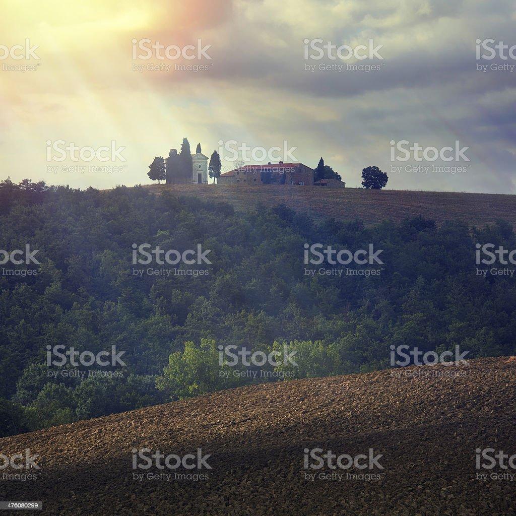 Chapel in Tuscany royalty-free stock photo