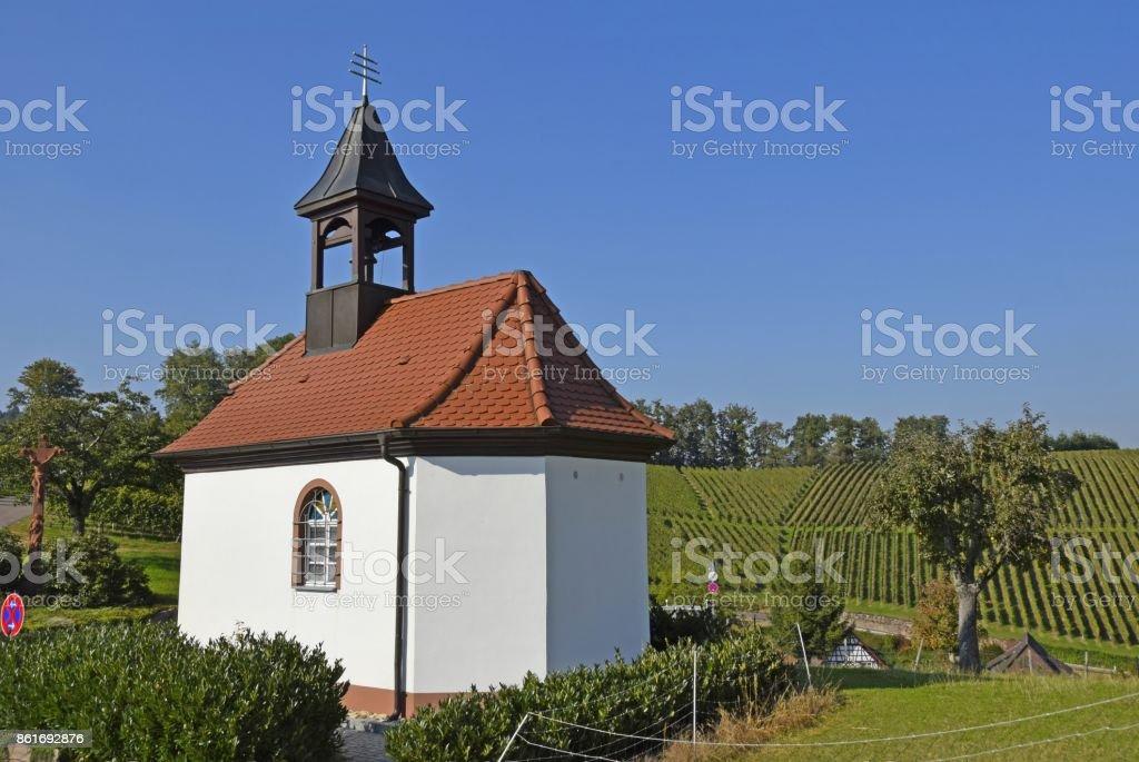 Chapel in vineyards stock photo