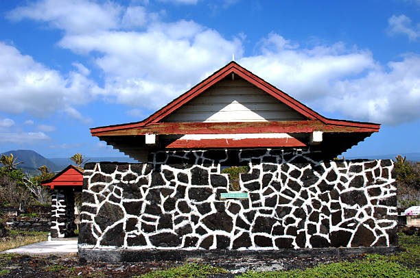 chapel made of hawaiian stone - pacific islander ethnicity stock photos and pictures