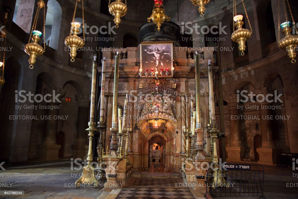 Chapel of Aedicule in Church of the Holy Sepulchre in Jerusalem stock photo