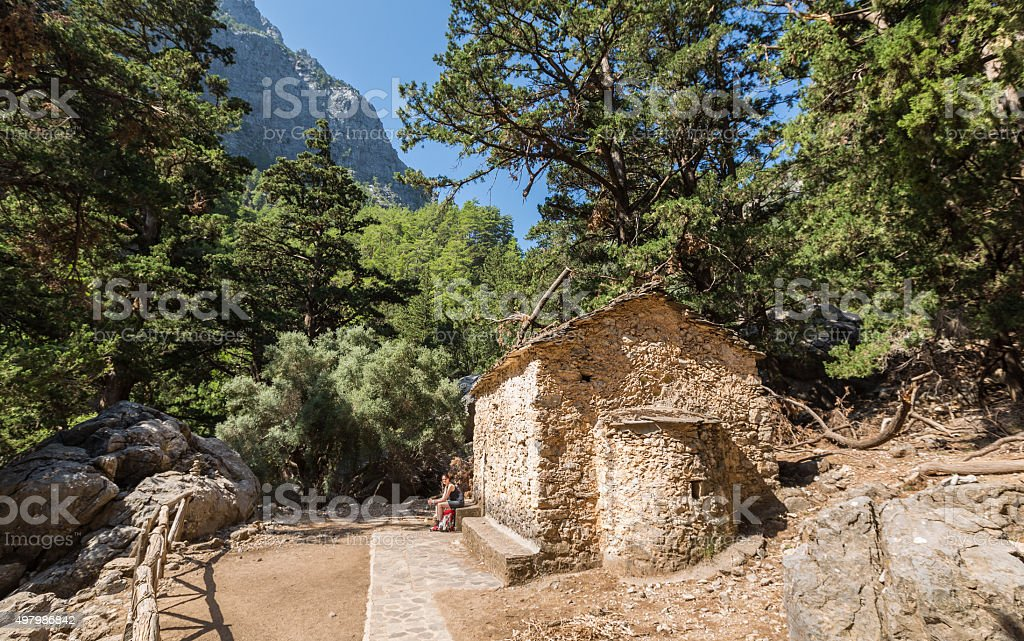 Chapel of Agios Nikolaos at Samaria Gorge, Crete stock photo