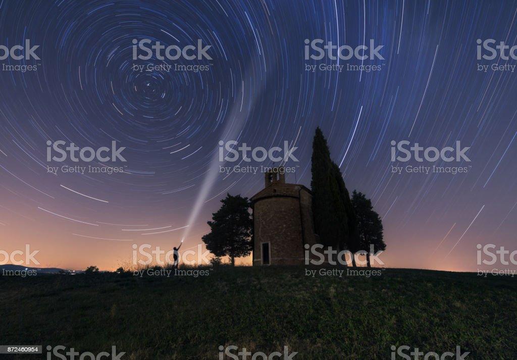 Chapel of Madonna di Vitaleta at night stock photo
