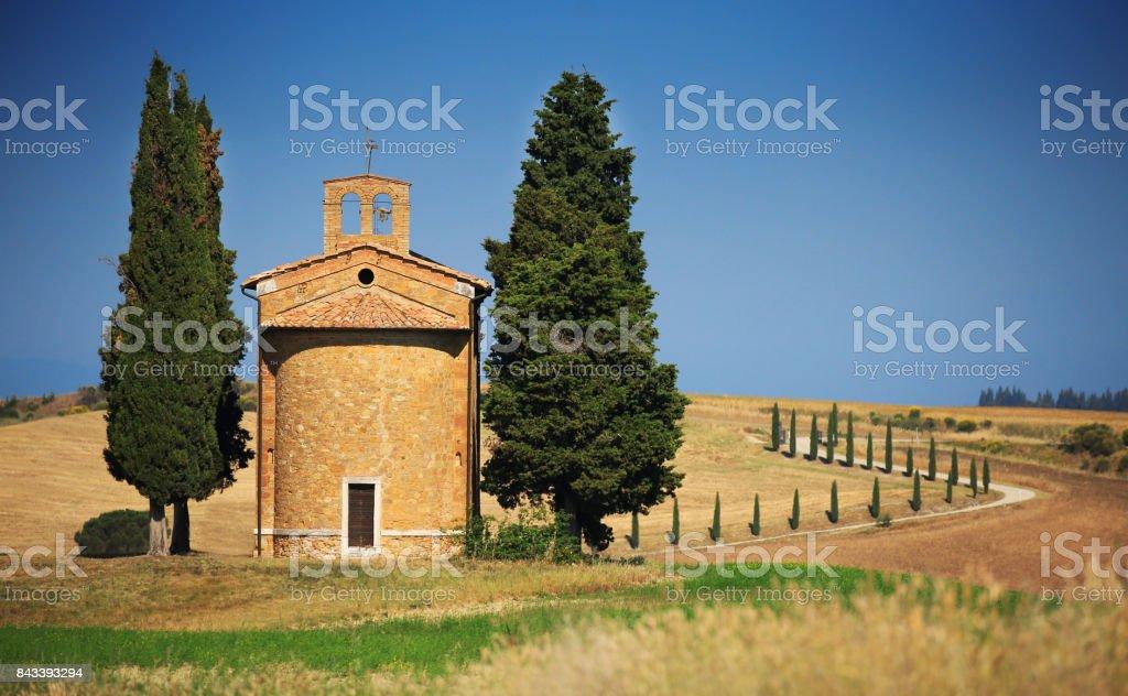 Chapel of Madonna di Vitaleta, San Quirico d'Orcia, Italy, Tuscany stock photo