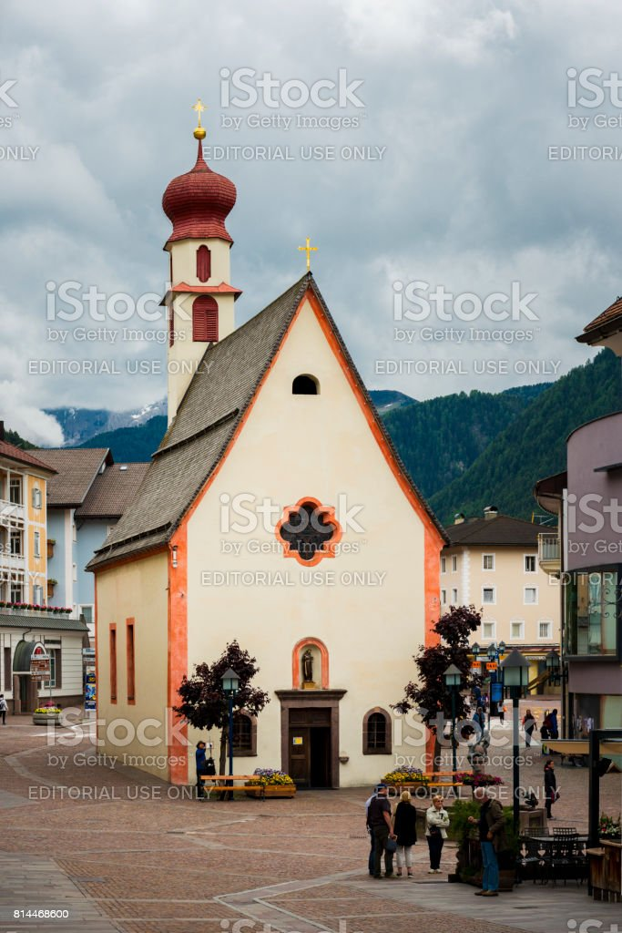 chapel of Ortisei in Italy stock photo