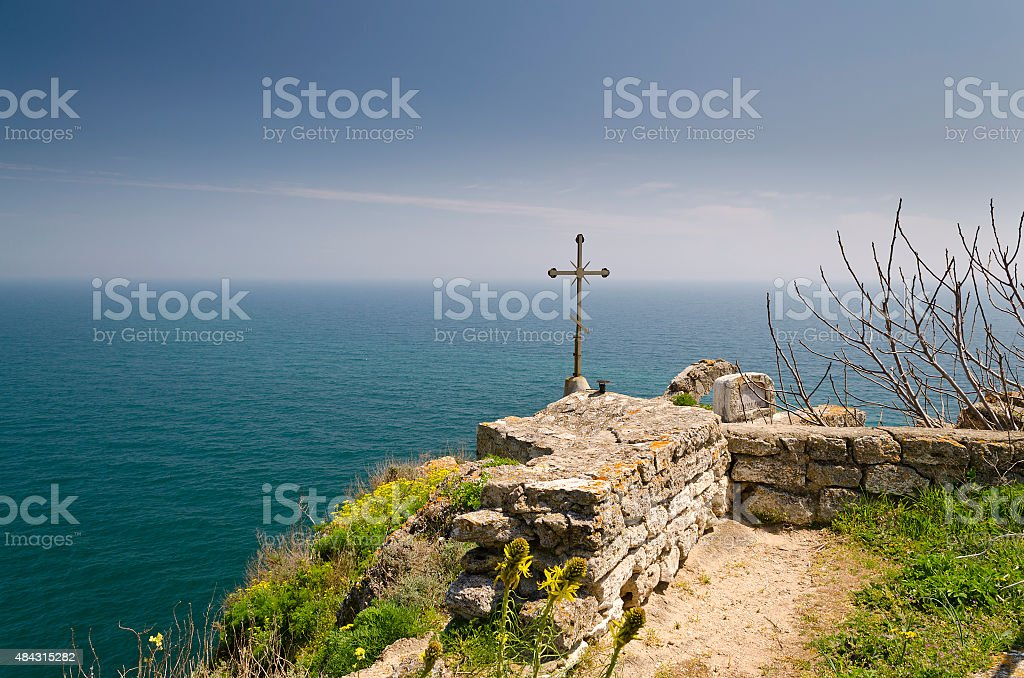 Chapel of St. Nicholas at Cape Kaliakra in Bulgaria stock photo
