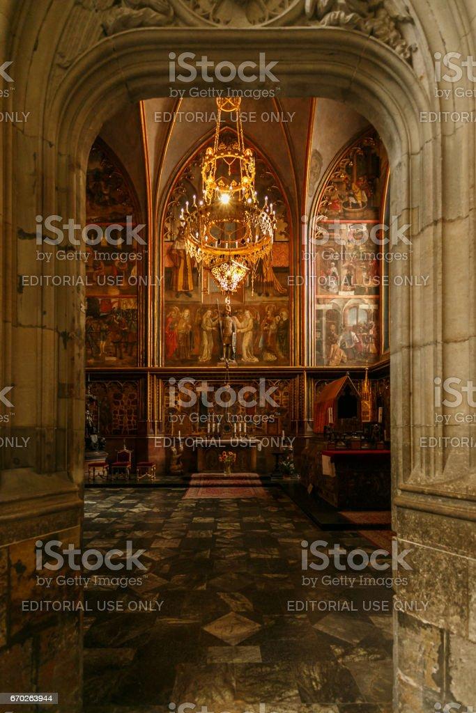 Chapel of St Wenceslas at St Vitus's Cathedral, Prague, Czech Republic stock photo