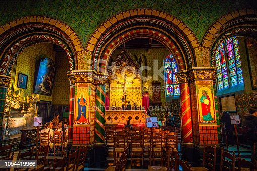 Bruges (Brugge), Belgium - March 22, 2018 - Scene inside the Basilica of the Holy Blood