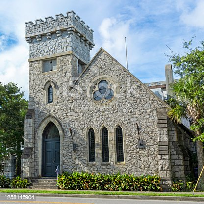 Sullivan's island, SC/USA - July 25, 2020 Built in 1891, the Chapel of the Holy Cross was designed by W.W. Deveaux of New York and constructed by Robert McCarrel of Charleston. The U.S. Army purchased the building in 1904; it served as the post chapel for nearby Fort Moultrie. The chapel was converted to a private residence in 1972.